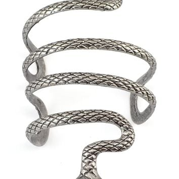 Idealway Vintage Style Silver Snake Shape Open Bangle Cuff Bracelets Bangles Armlet Men Jewelry Boyfriend Birthday Gift