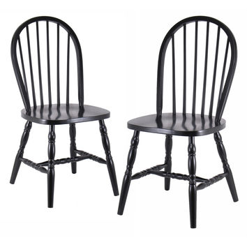 Charming Pair of Black Windsor chairs with Curved Legs by Winsome Woods