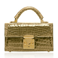 24K Gold Crocodile Mini Top Handle 2.0 Bag | Moda Operandi