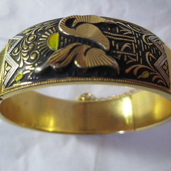 Scenic Damascene Hinged Bangle Style Bracelet w Cranes Birds Under the Sun Heavily Etched Vintage