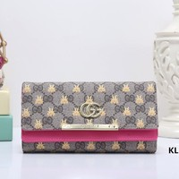 """Gucci"" Women Personality Double G Print Tiger Head Gecoration Long Section Purse Button Three Fold Wallet"