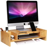 SONGMICS Bamboo 2-Tier Monitor Stand Riser with Adjustable Storage Organizer Laptop Cellphone TV Printer Stand ULLD213