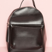 Black and Silver Faux Leather Backpack - Accessories