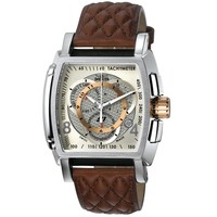 Invicta 5402 Men's S1 Rally Silver Dial Chronograph Brown Leather Strap Watch