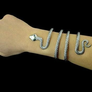 Vintage Style Silver Snake Shape Open Cuff Bracelet & Bangle For Women