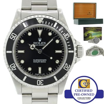 MINT Rolex Submariner No-Date 14060 Steel Black Dive 40mm T Watch w Box J8