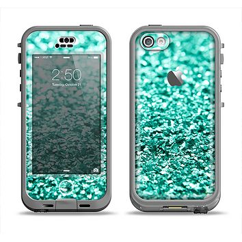 The Aqua Green Glimmer Apple iPhone 5c LifeProof Nuud Case Skin Set