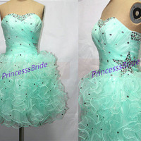 Short mint organza homecoming dress with rhinestones,chic sweetheart gowns for cocktail party,2014 cheap prom dresses hot.
