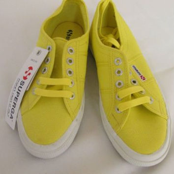 SUPERGA 2750 COTU CLASSIC Limelight Designer Lace Up Sneakers Womens 7 M