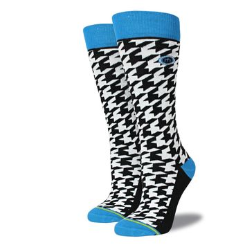 Women's Blue Houndstooth Socks