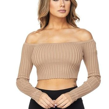 Long Sleeve Off The Shoulder Ribbed Knit Crop Top