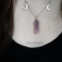pastel goth choker amethyst stone pendant gemstone chakra hexagonal point necklace