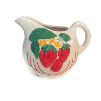 Vintage Ceramic Pitcher-McCoy USA Pottery-Vintage Kitchen-Strawberries-Handpainted-1940's-Refrigerator Pitcher-Cottage Chic
