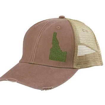 Idaho  Hat - Distressed Snapback Trucker Hat - off-center state pride hat - Pick your colors