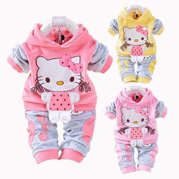 New Hello Kitty Baby Girls Clothing Set Spring Cotton Long Sleeved Children Hooded Clothes Pants 2 Pieces Suit Kids Clothing