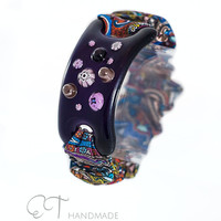 Violet bracelet Murano glass and cloth-unique handmade wide bracelet-flower bracelet-italian artisan designer bracelet-gift for her idea