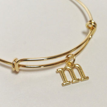 Gold personalized bracelet, charm bracelet, adjustable bangle, initial charm, stackable bangle, initial bangle, Alex and Ani inspired, gold