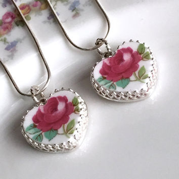 Gift for Mom, Mother Daughter Jewelry Set, Broken China Jewelry Necklace, Mom Daughter Gift, Matching Necklaces, Sisters Gift