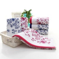 Flower Printed Cotton Face Towels
