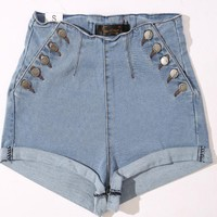 Double Breasted High Waist Drawstring Denim Shorts
