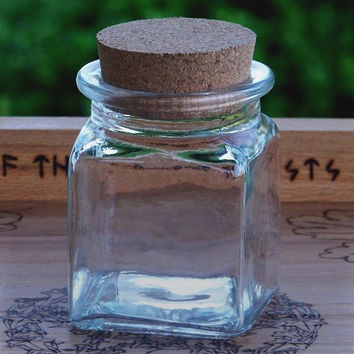 Crystal Clear Square Glass Corked Herb Spice Jar 8.5 oz.