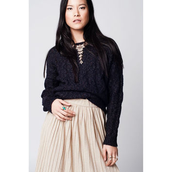 Navy blue cable knit sweater with round neck