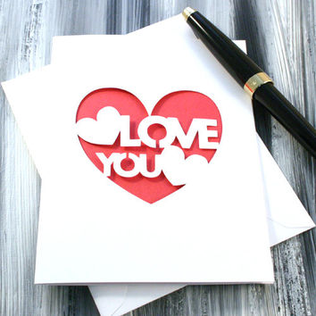Love You PaperCut General Greeting Card