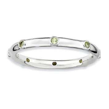 Sterling Silver Stackable Peridot Accent 2.25mm Band