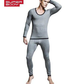 New SUPERBODY men's  long johns t internality  cotton legging male thermal long johns set 4 colors