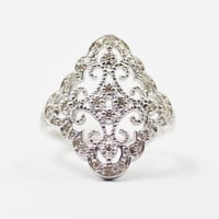White Gold Edwardian Revival Diamond Dinner Ring