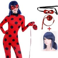 miraculous lady bug ladybug marinette cosplay cosplay costume girls adult kids children with wig Carnival fantasia fancy dress