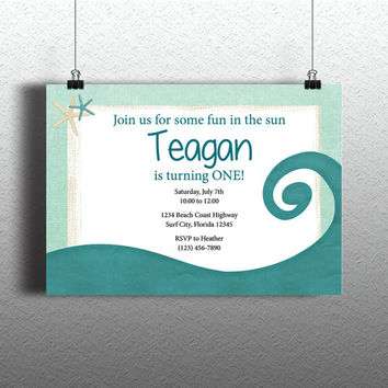 Instant Download-Ocean Wave Surfer DIY Printable Template Invitation Card Birthday Wedding Bridal Bachelorette Shower Baby
