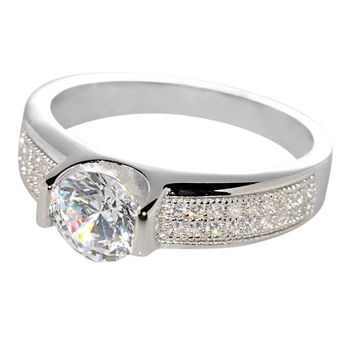 Sterling Silver Cubic Zirconia Engagement Ring Micro Pave Round 6mm CZ
