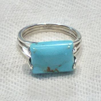Sleeping Beauty turquoise sterling silver ring size 8.5