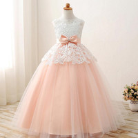 2017 Pink Flower Girl Dresses For Wedding Party Satin Beads Crystal Ball Gown First Communion Dresses Girl Pageant Gown Hot