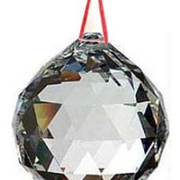 30mm Feng Shui Faceted Crystal Prism Ball on Red Cord Reiki Wicca Space Clearing Glass Light Catcher