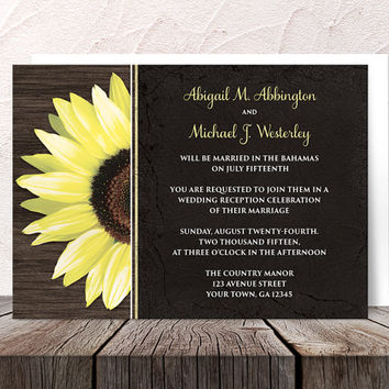 Rustic Sunflower Black Reception Only Invitations and RSVP - Post Wedding Receptions Wood Yellow Floral - Printed Invitations