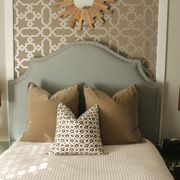 Custom made upholstered 'Cavendish' Headboard with hand applied nickel nailheads - DELUXE SERIES