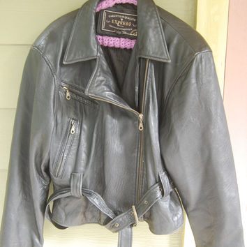 Vtg Black Buttery Soft Leather Express Motorcycle Punk Jacket Size Medium