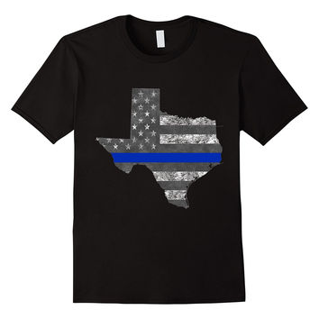 Texas Police Thin Blue Line Flag T-Shirt