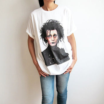 Edward Scissorhands Johnny Depp Tim Burton T-Shirt Movie White Screen Printed Shirt Men Women Tee Shirts Size L