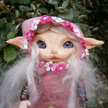 miniature clay FAIRY art DOLL bjd face inspired, fairy doll 1/8 ,ooak  tiny posable art doll , fairie gift ideas christmas gift clay doll