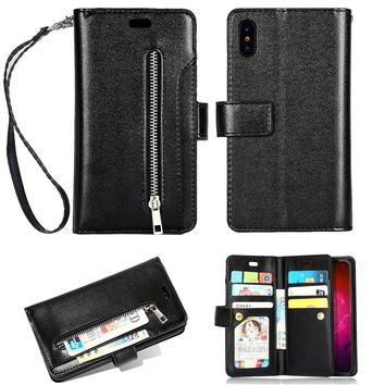 10 Card Sots Zipper Wallet Leather Case For iPhone X 7 7 Plus 6 6S Plus Luxury Flip Phone Case For iPhone 8 8 Plus Cover Stands
