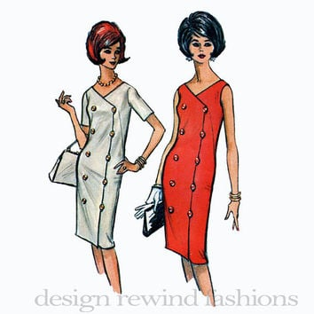 1960s MOD Double Breasted DRESS w/ V-Neckline Button Accents Short Sleeves or Sleeveless McCalls 7326 Bust 34 UNCUT Vintage Sewing Patterns
