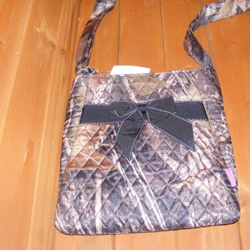 Quilted Camo Messenger Bag w/ Black Bow