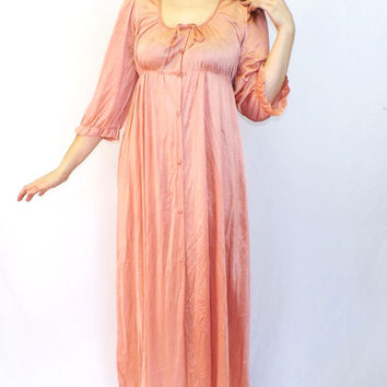 Vintage 1950s 60s Ginger Dusty Rose Pink Kayser Silky Lace Sleepwear Maxi Nightgown Lingerie Medium Teddy Mad Men Pin Up Robe Dressing Gown