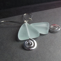 Silver Swirl Earrings:  Aqua Sea Glass Earrings, Geometric Triangle Earrings, Seafoam Green Nautical Modern Beach Jewelry