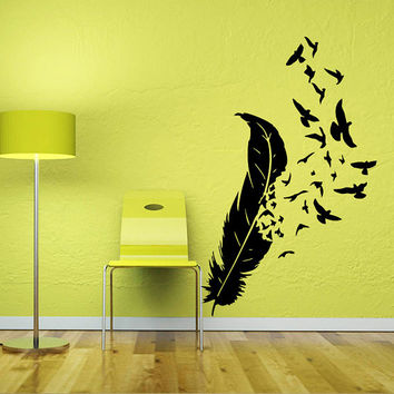 Wall Decal Vinyl Sticker Decals Art Home Decor Design Mural Feather Birds Nib Style Feather Peacock Living Room Modern Fashion Bedroom AN359