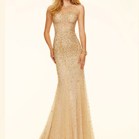 Beaded Net Paparazzi Prom Dress 98139