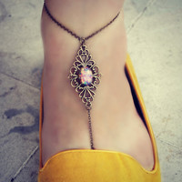 pink opal filigree anklet, slave anklet, body jewelry, toe ring, unique anklet, barefoot sandal